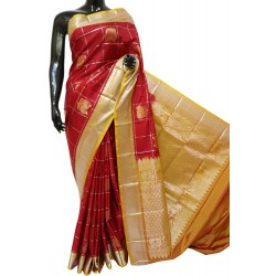 Kanchi Pattu Light weight Beautiful Motifs Checks