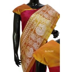 Kanchi Pattu Light weight Half & Half Style Marvelous Silver Design