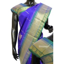 Kanchi Pattu Light weight Exclusive Checks with Hamsa Motifs
