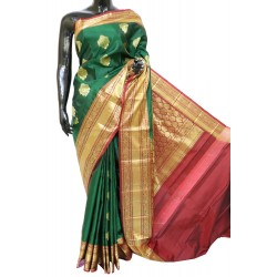 Kanchi Pattu Light weight Bottle Green with Maroon Latest Combination