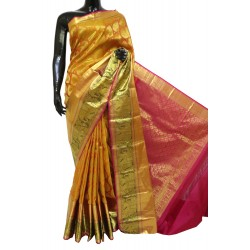 Kanchi Pattu Brocade Mustard Yellow with pink Bridal Combination