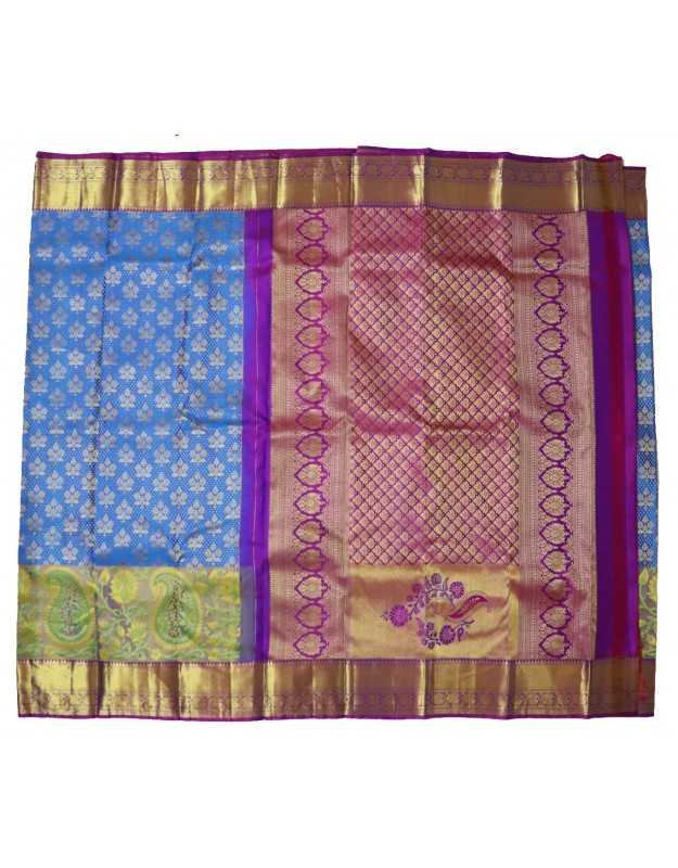 Kanchi Pattu Brocade with Paithani Resham border-Blue