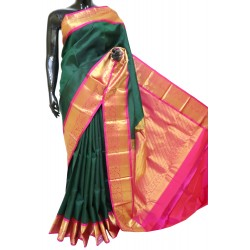Kanchi Pattu Pure Reham Green WIth Pink Traditional Border