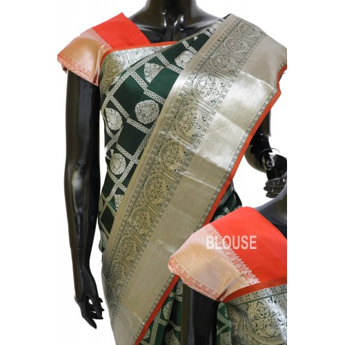 Kanchi Pattu Bottle Green Gorgeous Combination