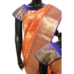 Kanchi Pattu Brocade Orange with Violet