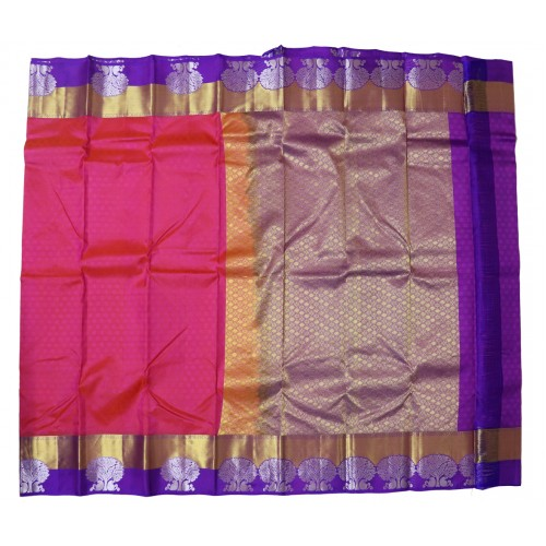 Kanchi Pattu Plain Resham Beautiful Motifs On the Border