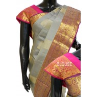 Kanchi Pattu latest Motifs Grey with Pink Rare Combination