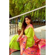 Kanchi Designer Silk Saree With Paithani Pallu Border
