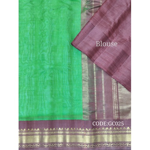 Gadwal pure handwoven cotton saree with green&purple combination-GC025