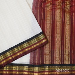 Gadwal pure cotton saree with Small Cheks-GC112