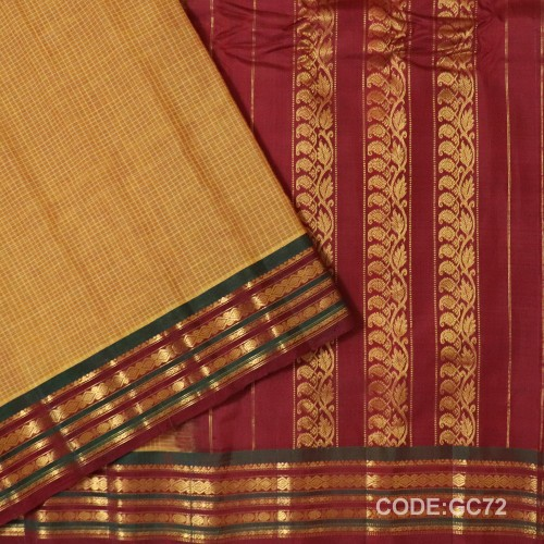 Gadwal pure cotton saree with Small Cheks-GC72