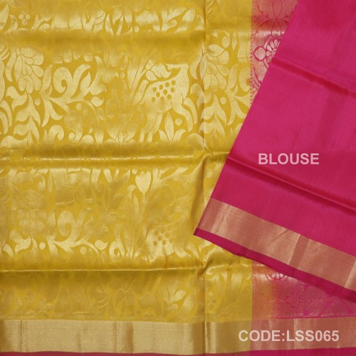 Beautifull Soft Silk Saree with Deer And floral Designed Motifs-LSS065