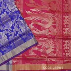 Beautifull Soft Silk Saree with Deer And floral Designed Motifs-LSS066
