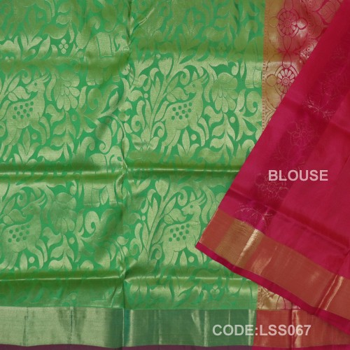 Beautifull Soft Silk Saree with Deer And floral Designed Motifs-LSS067
