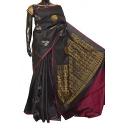 Black with Majenta Light Weight Soft Silk Sarees with Instrumental Motifs