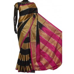 Black & Gold Zari Multi Color Designer Soft Silk Saree