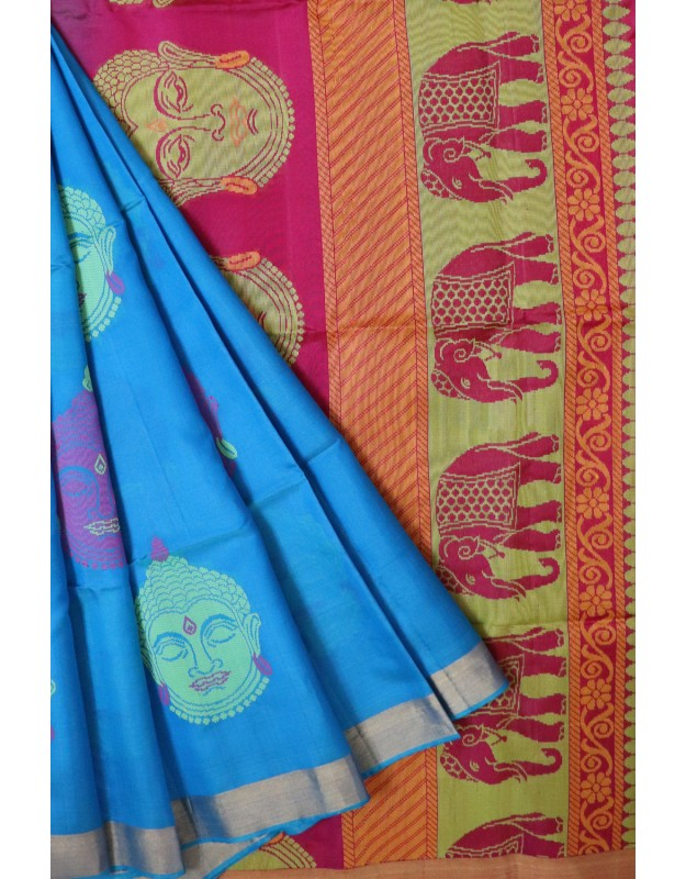 Light Blue Kalamkari Light weight Pattu Sarees @ 30% Off