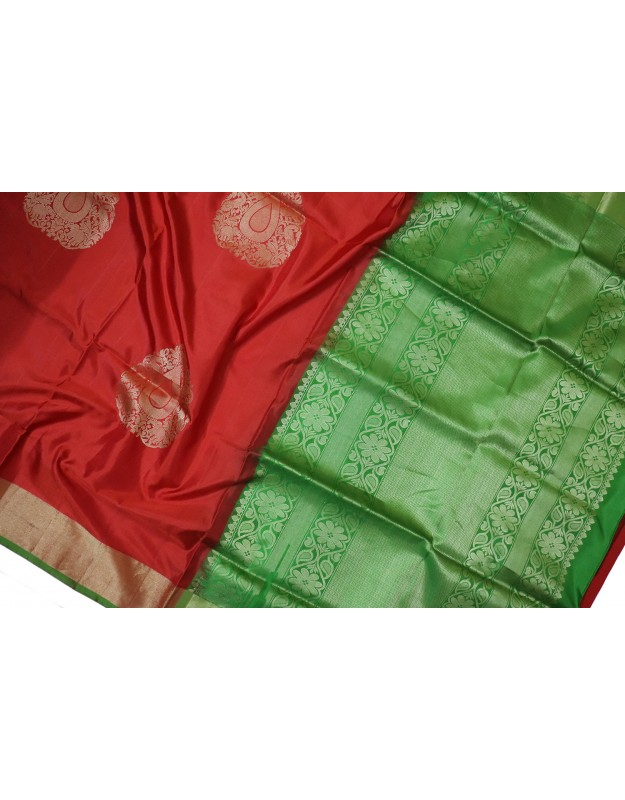 Soft Silk  Red with Green Big Motifs