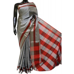 Soft Silk Plain Checks Pallu & Blouse