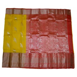Organza Pure Silver Zari With Excellent Turning Design Long Border