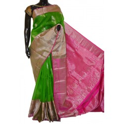 Attractive Organza Pure Silver Zari With Excellent Turning Design Long Border