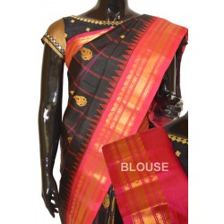 Gadwal Pattu Silk Checks With Zari Kairy Butta