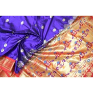 Gadwal Pure Silk Paithani Pallu Blue with Orange