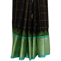 Gadwal Pure Silk with Zari Cheks Big Butta Gangajemuna Border