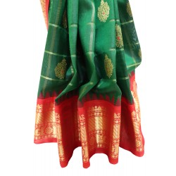 Gadwal Pure Silk with Zari Cheks Big Butta Temple Border