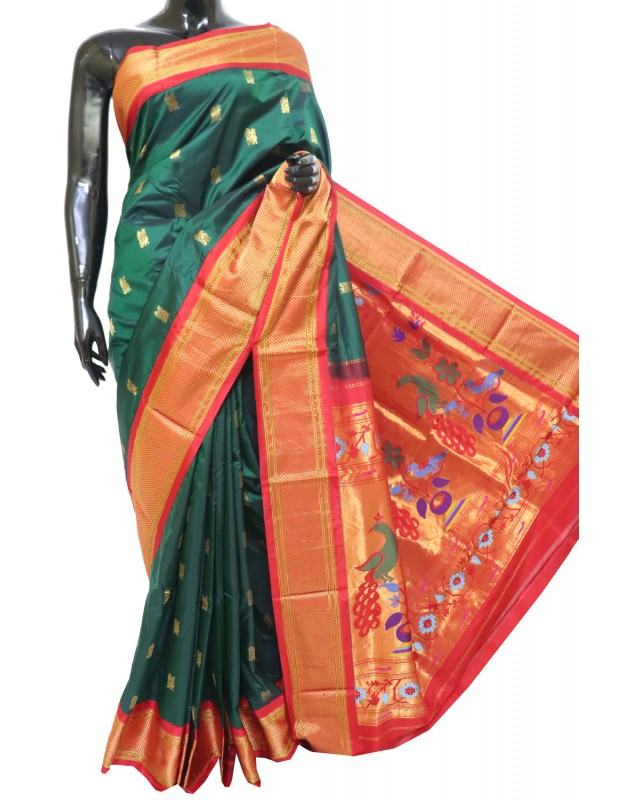 Gadwal Pure Silk parrot Butta with paithani Pallu