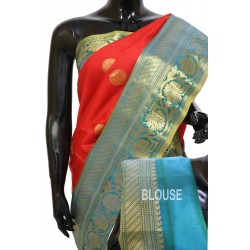 Gadwal Pure Silk Red with Blue Rare Combination