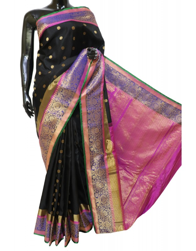 Gadwal Pure Silk Black with Paithani Border