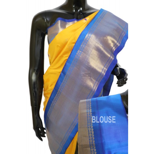 Gadwal Pure Silk Yellow with Blue Long Border