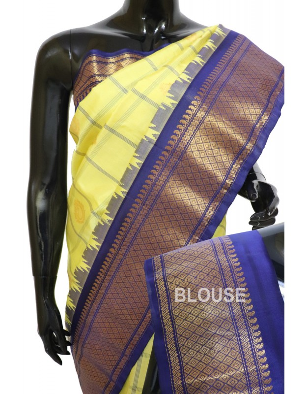 Gadwal Pure Silk cheks with butta Temple Border