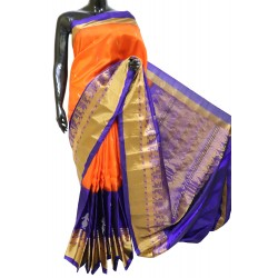 Gadwal Silk Orange with Violet Long scut Border Style