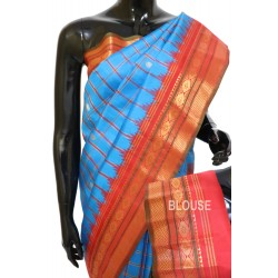 Gadwal Silk Cheks C Blue Color with Red Combination