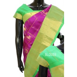 Gadwal Silk Magenta Color with Beautiful cheks with Motifs