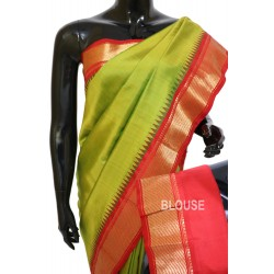 Gadwal Silk Plain Contrast Parrot Green With Red