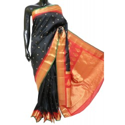 Gadwal Silk Black with red Crazy Combination