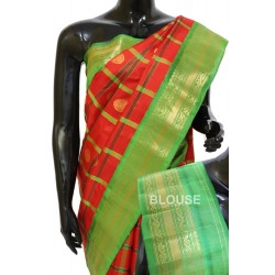 Gadwal Pure Silk Cheks Red with Green Attractive Combination