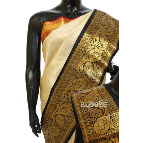 Gadwal Pure Silk Brocade with Gangajemuna Border