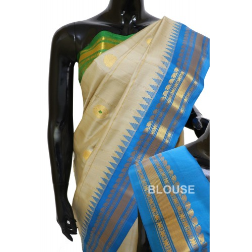 Gadwal Pure Silk checks Gangajemuna border