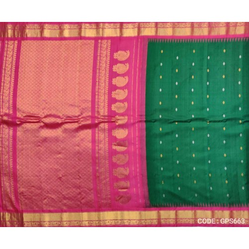 Gadwal Pure Silk Full Bottle green with Pink - GPS663