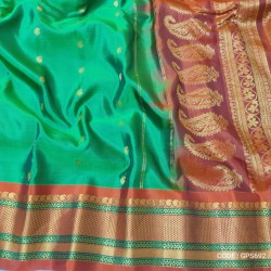 Gadwal Pure Silk Full Motifs Green with red - GPS692