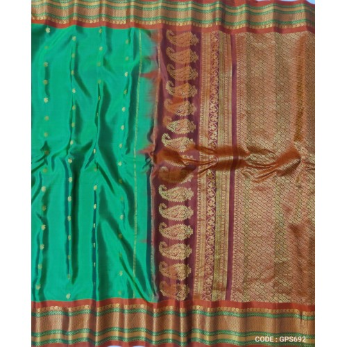 Gadwal Pure Silk Full Motifs Green with red - GPS924