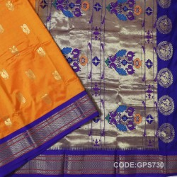 Gadwal Handwoven Pure Silk Saree-GPS730