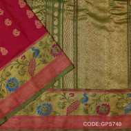 Gadwal Handwoven Pure Silk Saree Paithani Border-GPS740