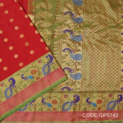 Gadwal Handwoven Pure Silk Saree-GPS742