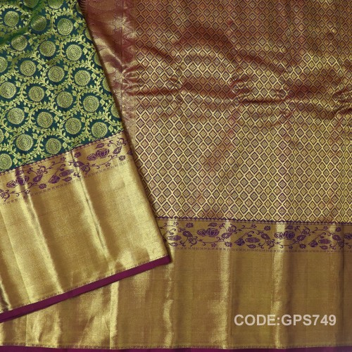 Gadwal Handwoven Pure Silk Borocade Saree With Broad Border-GPS749