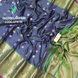 Gadwal Handwoven Pure Silk Saree With Broad Border-GPS756